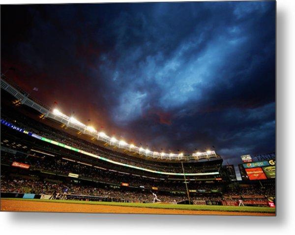 Texas Rangers V New York Yankees Metal Print by Al Bello