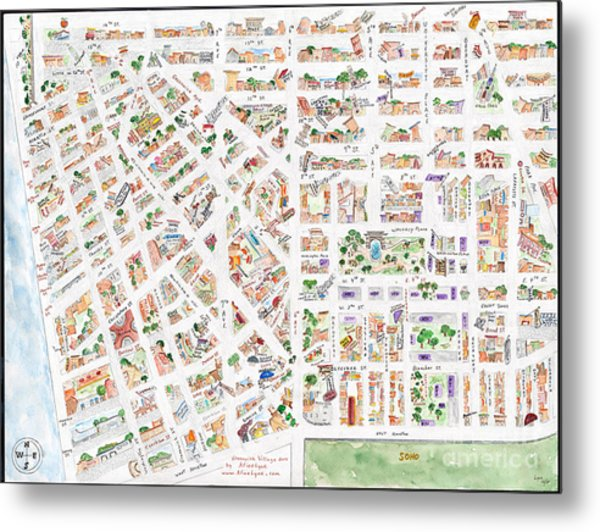 The Greenwich Village Map Metal Print