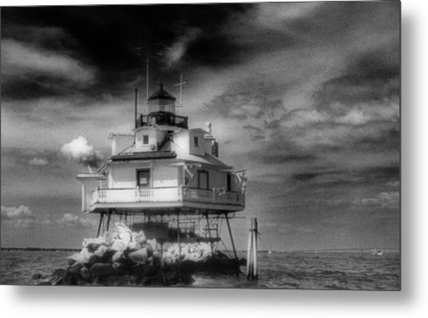 Thomas Point Shoal Lighthouse Bnw Metal Print
