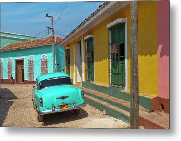Trinidad, Cuba, With Blue Classic 1950s Metal Print