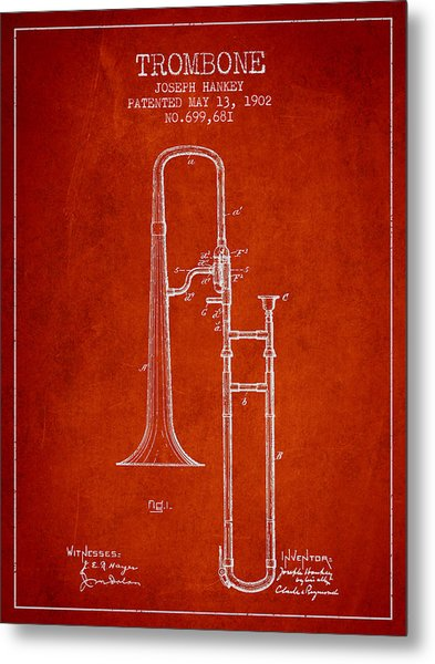 Trombone Patent From 1902 - Red Metal Print
