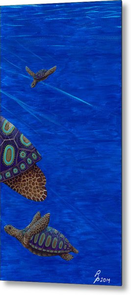 Turtle Painting Bomber Triptych 3 Metal Print