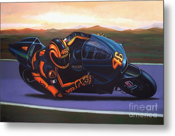Valentino Rossi On Ducati Metal Print