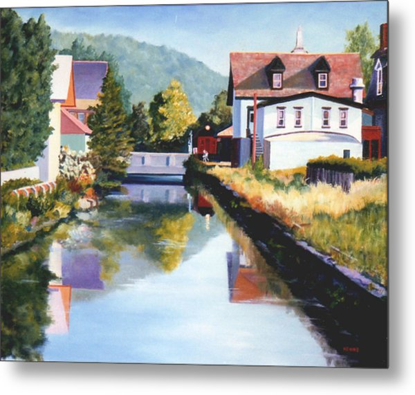 Metal Print featuring the painting View Along The Canal by Robert Henne