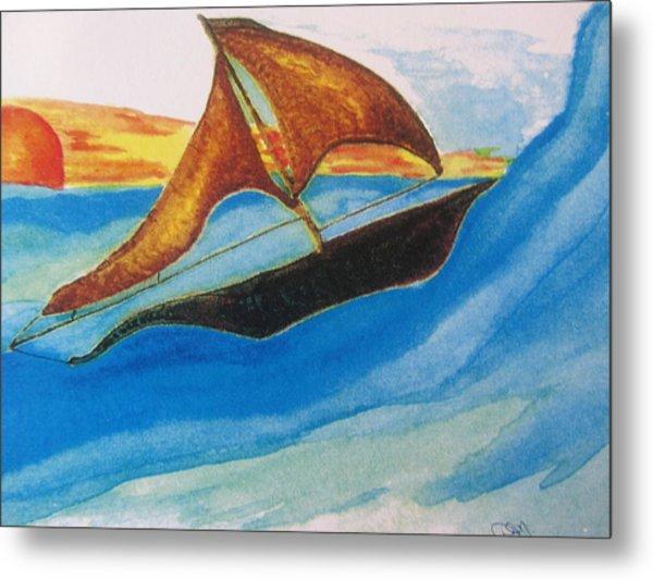 Viking Sailboat Metal Print by Debbie Nester