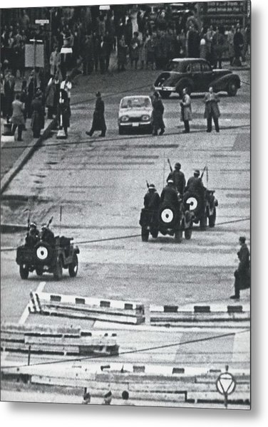 Volkspolice Tried To Hinder The American Traffic In Berlin Metal Print by Retro Images Archive