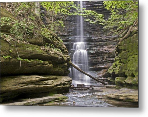 Waterfall At Matthiessen State Park Metal Print