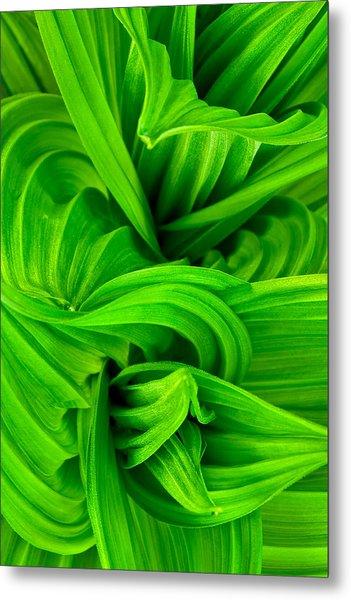 Wavy Green Metal Print