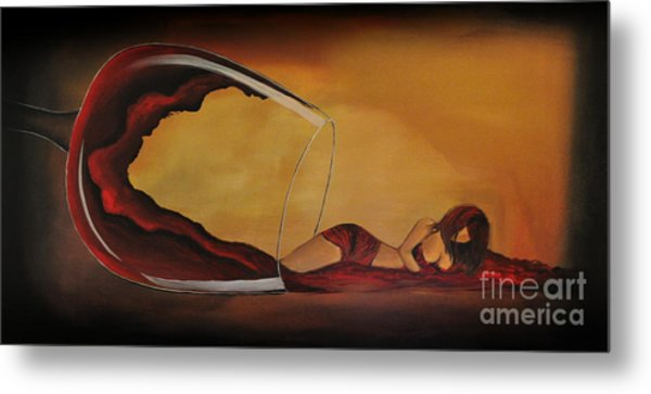 Wine-spilled Woman Metal Print