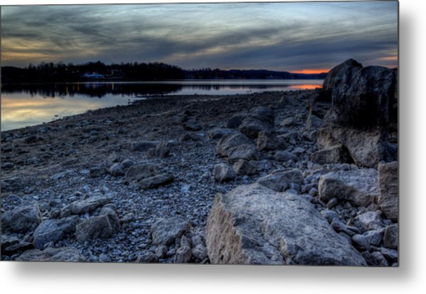 Winter Sunset On The Lake Metal Print