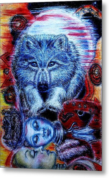 Wolf Dream Metal Print by Elizabeth Clausen