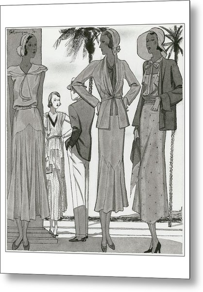 Women Wearing Designer Dresses Metal Print by Pierre Mourgue