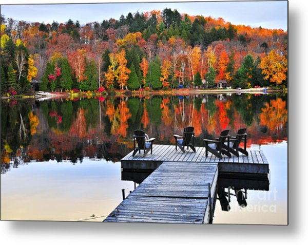 Wooden Dock On Autumn Lake Metal Print