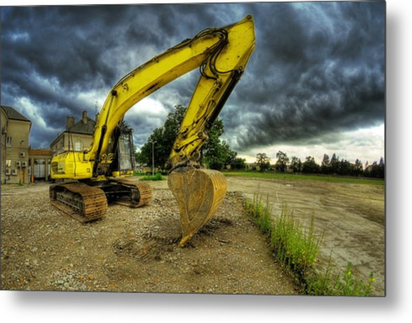 Yellow Excavator Metal Print