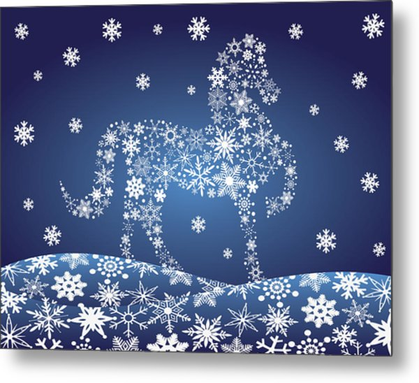 2014 Chinese Horse With Snowflakes Night Winter Scene Metal Print