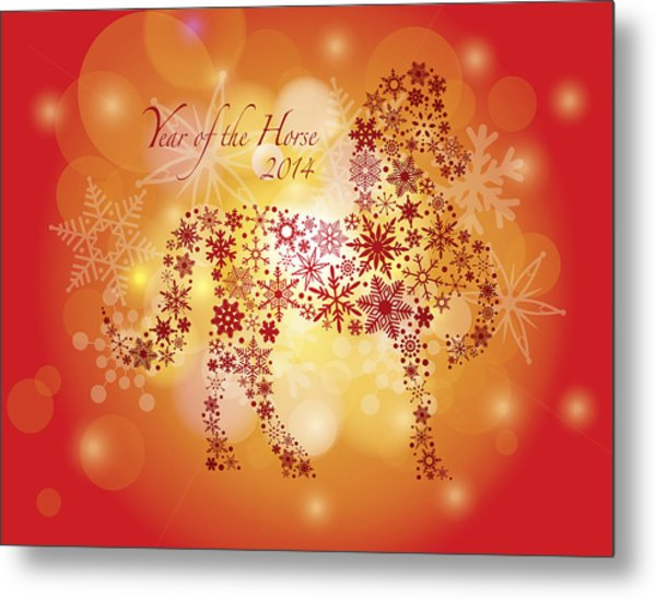 2014 Happy New Year Of The Horse With Snowflakes Pattern Metal Print