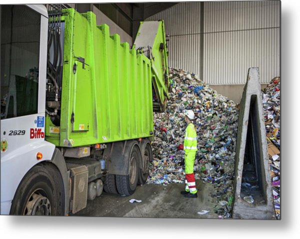 Recycling Centre Metal Print by Lewis Houghton/science Photo Library