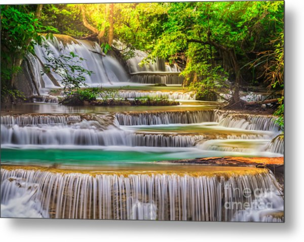 Erawan Waterfall Metal Print