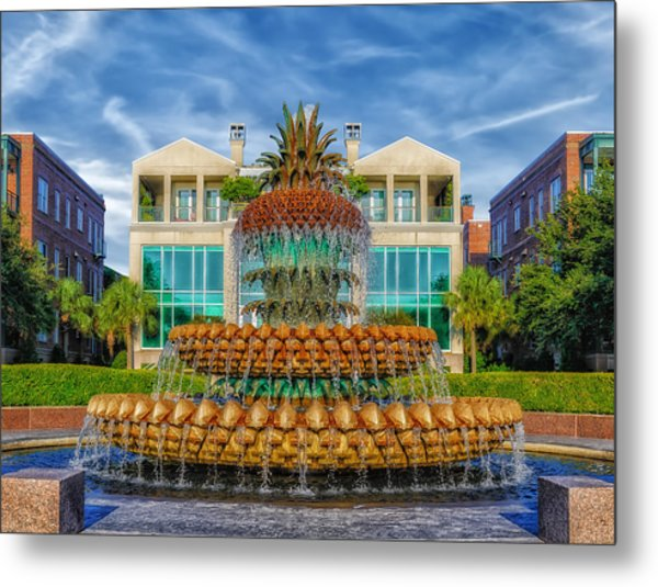 Pineapple Fountain - Morning At Waterfront Park Metal Print by Frank J Benz