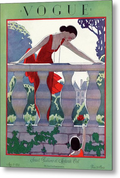 A Vintage Vogue Magazine Cover Of A Woman Metal Print by Andre E  Marty