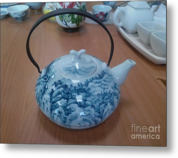 Blue And White Porcelain Metal Print