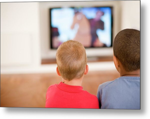 Children Watching Television Metal Print by Ian Hooton/science Photo Library