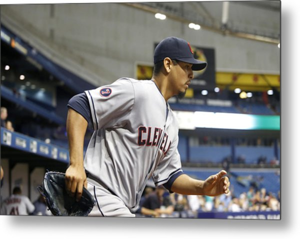 Cleveland Indians V Tampa Bay Rays Metal Print by Brian Blanco