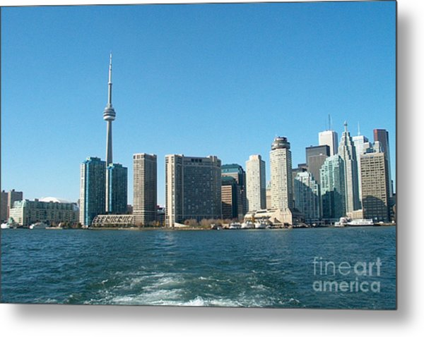 Cn Tower Toronto View From Centre Island Downtown Panorama Improvised With Graphic Artist Tools Pain Metal Print