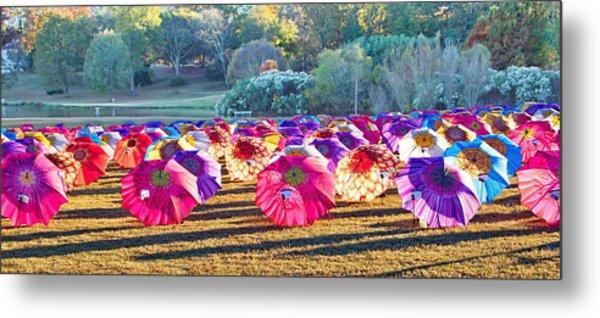 Colorful Umbrellas At The Park Metal Print