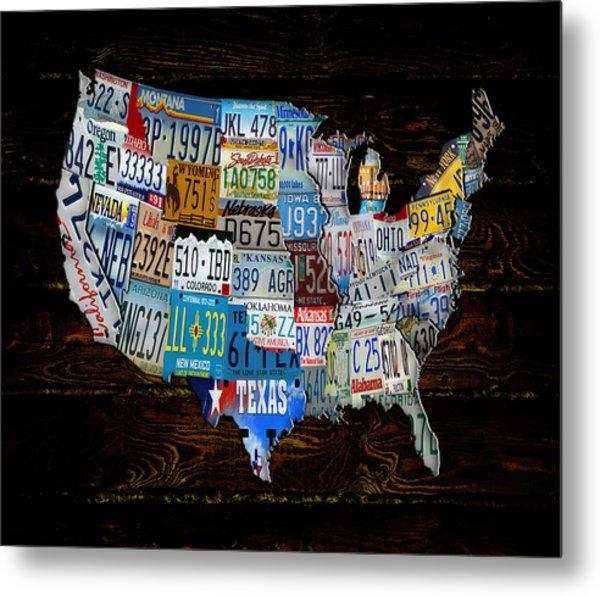 Continental Usa License Tag Map Metal Print