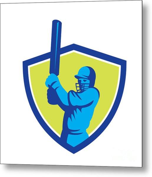 Cricket Player Batsman Batting Shield Retro Metal Print