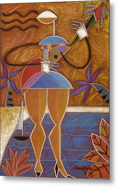 Metal Print featuring the painting Cuatro Caliente by Oscar Ortiz