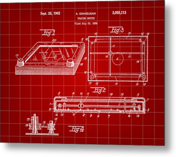 Etch A Sketch Patent 1959 - Red Metal Print