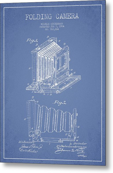 Folding Camera Patent Drawing From 1904 Metal Print