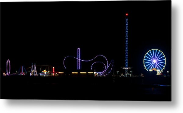 Galveston Texas Pleasure Pier At Night Metal Print