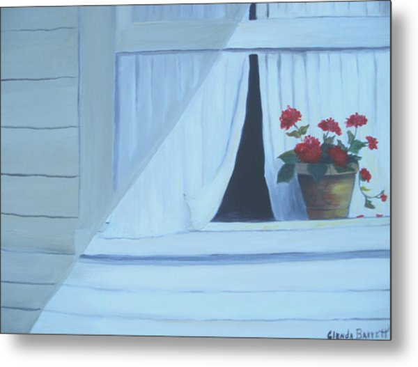 Geraniums On Windowsill Metal Print by Glenda Barrett