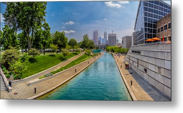 Indianapolis Skyline From The Canal Metal Print
