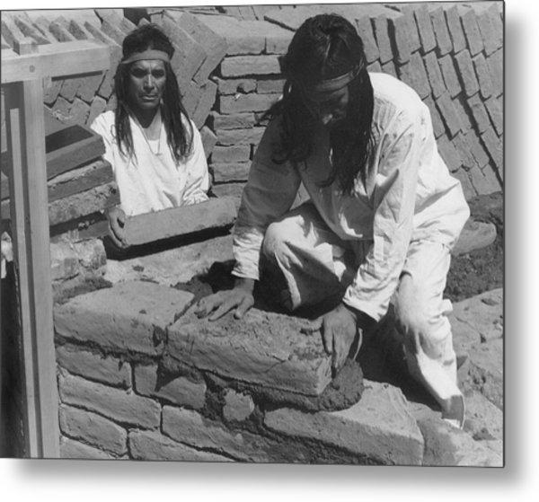Indians Building Missions Metal Print