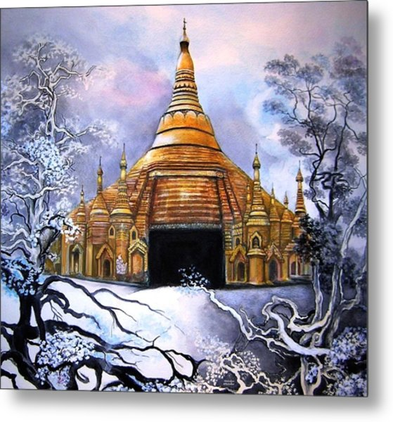 Interpretive Illustration Of Shwedagon Pagoda Metal Print by Melodye Whitaker