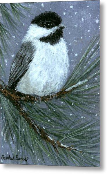 Let It Snow Chickadee Metal Print