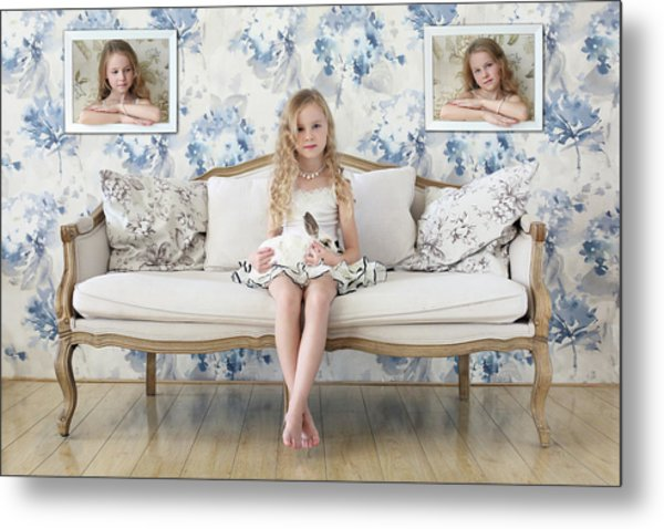 3 Little Girls And A White Rabbit Metal Print