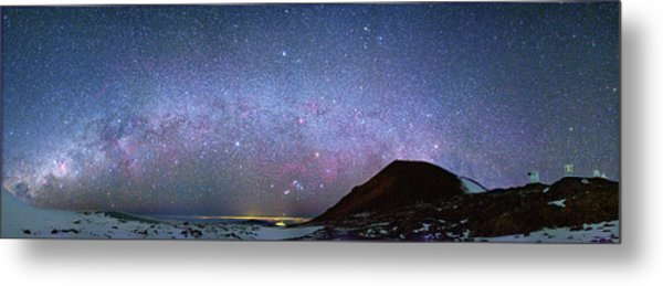 Milky Way Over Telescopes On Hawaii Metal Print