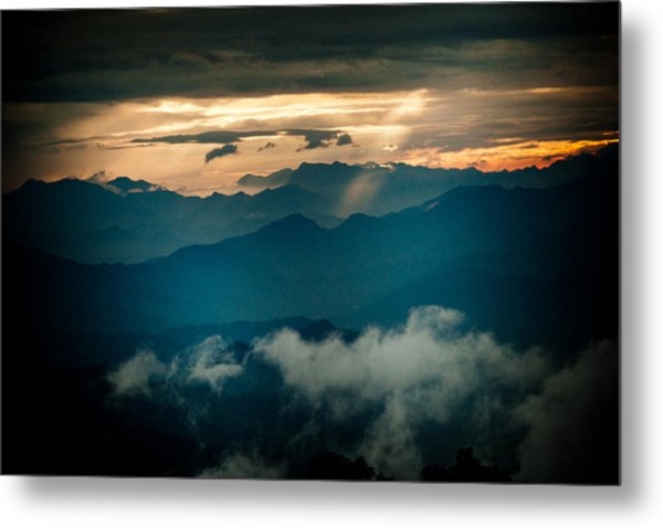 Panaramic Sunset Himalayas Mountain Nepal Metal Print