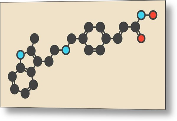 Panobinostat Cancer Drug Molecule Metal Print by Molekuul