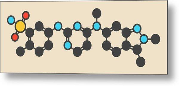 Pazopanib Cancer Drug Molecule Metal Print by Molekuul