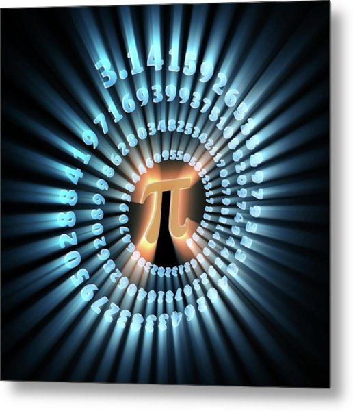 Pi Symbol And Number Metal Print by Alfred Pasieka