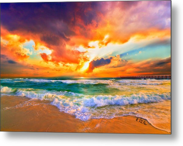 Red Orange Beach Sunset Metal Print