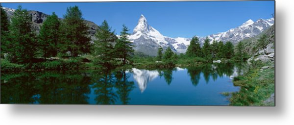 Reflection Of A Mountain In A Lake Metal Print
