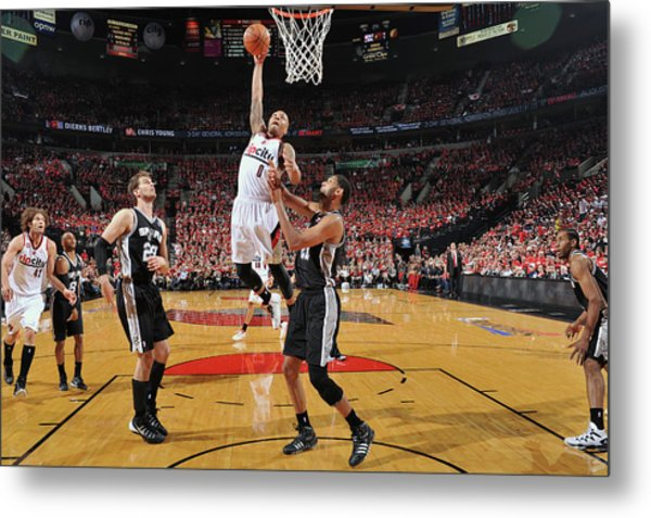 San Antonio Spurs V Portland Trail Metal Print by Garrett Ellwood