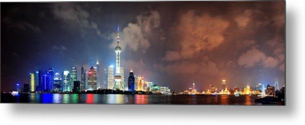 Shanghai Skyline At Night Metal Print